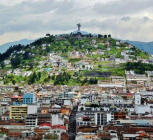 The Panecillo and the historic center of Quito from the Basilica