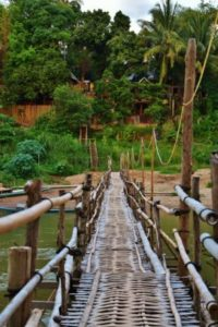 Bamboo Bridges in Luang Prabang in Laos