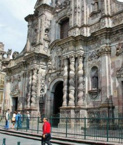 Baroque facade of the Compañía church in Quito