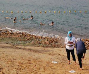 Bathing in the Dead Sea in Jordan