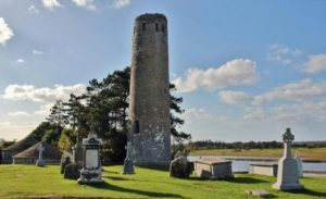 Bell tower in Clonmacnoise in Ireland