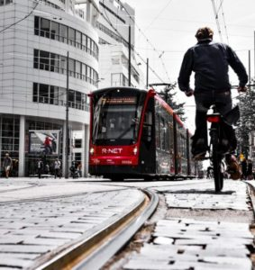 Bicycle and tram in The Hague in Holland