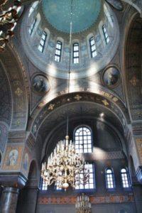 Byzantine style inside the Uspensky Orthodox cathedral in Helsinki
