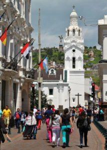 Calle de las Cruces in the historic center of Quito in Ecuador