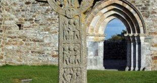 Celtic Cross of the Scriptures at Clonmacnoise in Ireland