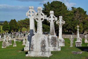 Celtic crosses in Clonmacnoise in Ireland