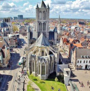 Church of St. Nicholas from Belfort belfry of Ghent