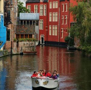Corner of a Ghent canal in Flanders Belgium
