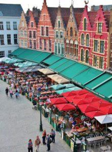Corner of the Market Square in Bruges