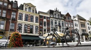 Corner of the historic center of The Hague in Holland