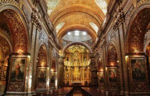 Decoration with gold leaf in the church of the Company of Quito