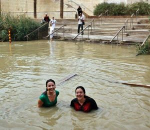 Doris and Cristina after the baptism in the Jordan River in Bethany