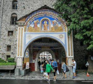 Entrance door to the Rila Monastery in Bulgaria