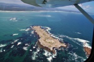 Fly over the small nature reserve of Walker Bay in South Africa