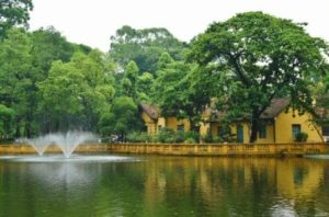 Gardens of the Hanoi Presidential Palace in Vietnam