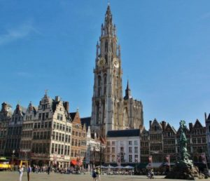 Gothic Cathedral of Antwerp from the Main Square