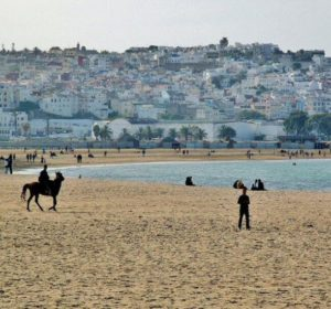 Great beach of Tangier in northern Morocco