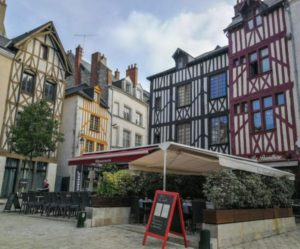 Half-timbered houses in historic center of Orleans in Loire Valley
