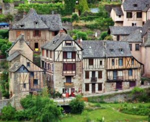 Half-timbered houses in the medieval village of Conques in southern France
