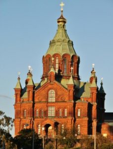 Helsinki Uspenski Orthodox Cathedral at sunset