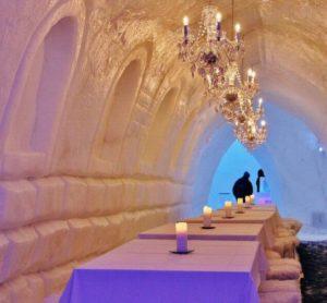 Ice restaurant at Snowman World in Santa Claus Village in Rovaniemi
