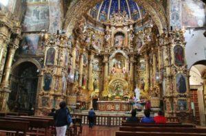 Interior of the San Francisco church in Quito