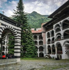 Large central courtyard of the Rila monastery in Bulgaria