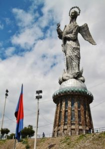 Large statue of the winged Virgin of Quito in Panecillo