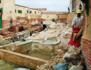 Leather tannery in the Medina of Tetouan