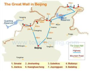 Map of the sectors of the Great Wall of China in Beijing