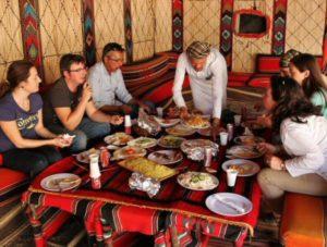 Meal in Bedouin tents in the Wadi Rum desert in Jordan