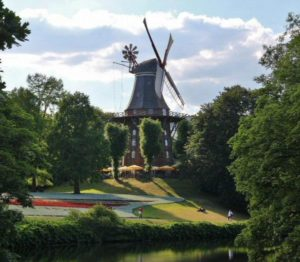 Mill in a park of the center of Bremen in Germany