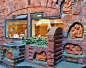 Modernist corner in the street of the Coopers of Bremen in Germany