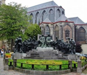 Monument to the Van Eyck brothers in Ghent