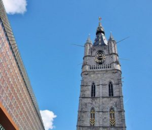 Municipal bell tower next to the Cloth Hall in Ghent