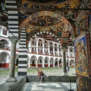 Mural paintings in the church of the Rila monastery in Bulgaria