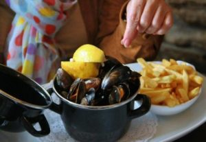 Mussels at Mitchells restaurant in Clifden on the Atlantic coast of Ireland