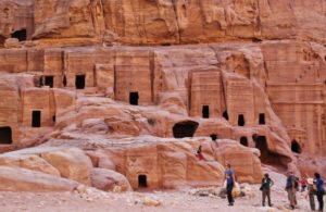 Nabatean tombs in Petra in Jordan
