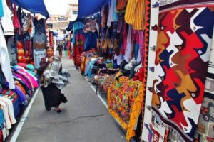 Otavalo craft market near Quito in Ecuador