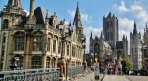 Panorama from the Saint Michael bridge in Ghent in Belgium