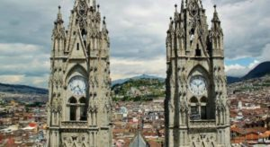 Panoramic views of Quito from the National Basilica in Ecuador