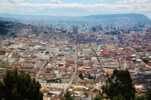 Panoramic views of Quito from the viewpoint of Panecillo