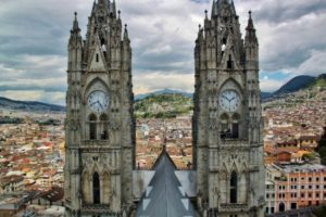 Panoramic views of the historic center of Quito from the Basilica