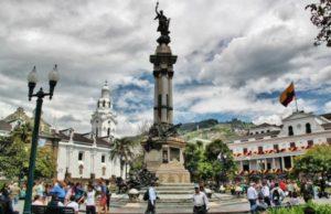 Plaza Grande in the historic center of Quito in Ecuador
