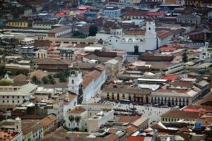 Plaza de San Francisco de Quito from the viewpoint of Panecillo