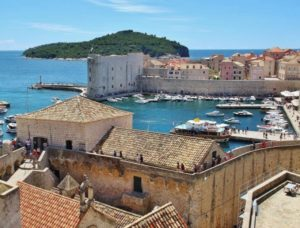 Port of Dubrovnik in Croatia from its walls