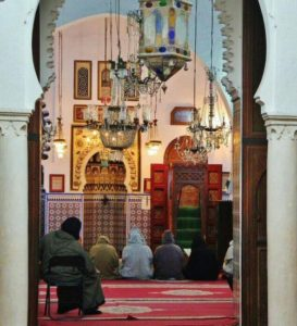 Prayer in a mosque in the Medina of Tetouan