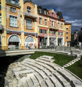 Remains of the old roman stadium in Plovdiv in Bulgaria