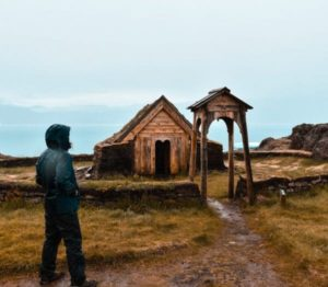 Replica of the first Christian church of America in Qassiarsuk in Greenland