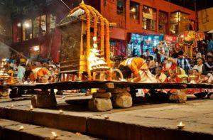 Ritual in Varanasi in India